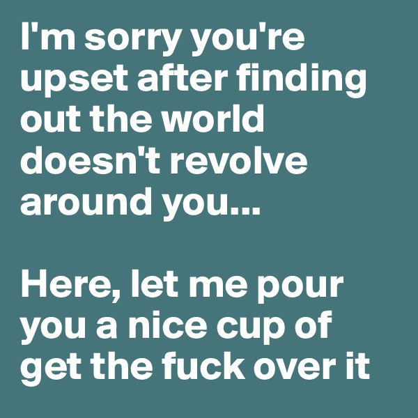 I'm sorry you're upset after finding out the world doesn't revolve around you...   Here, let me pour you a nice cup of get the fuck over it