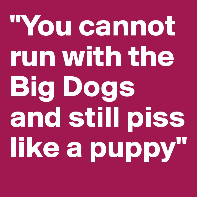 """You cannot run with the Big Dogs and still piss like a puppy"""