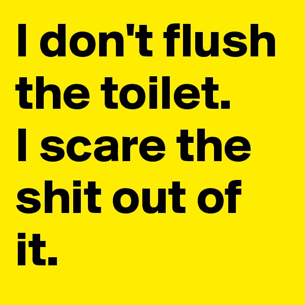 I don't flush the toilet.  I scare the shit out of it.