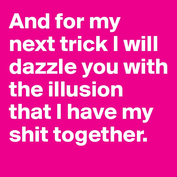 And for my next trick I will dazzle you with the illusion that I have my shit together.