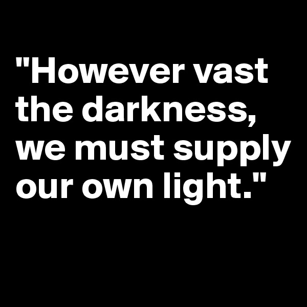 """However vast the darkness, we must supply our own light."""