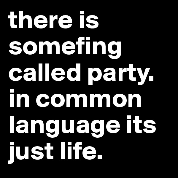there is somefing called party.  in common language its just life.