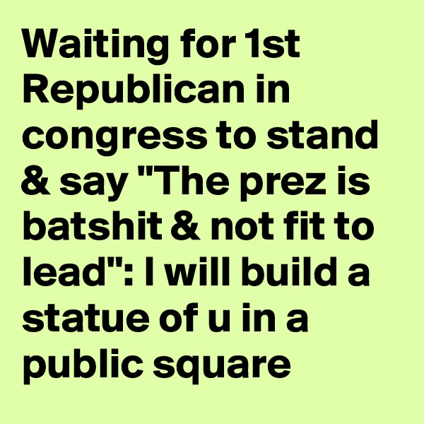 "Waiting for 1st Republican in congress to stand & say ""The prez is batshit & not fit to lead"": I will build a statue of u in a public square"