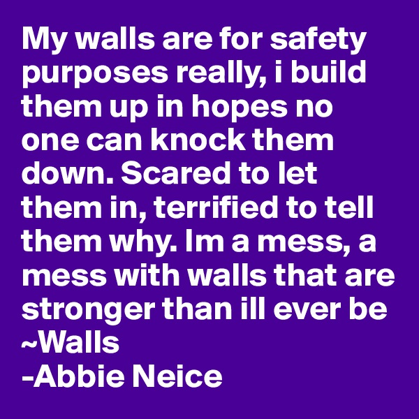 My walls are for safety purposes really, i build them up in hopes no one can knock them down. Scared to let them in, terrified to tell them why. Im a mess, a mess with walls that are stronger than ill ever be ~Walls -Abbie Neice