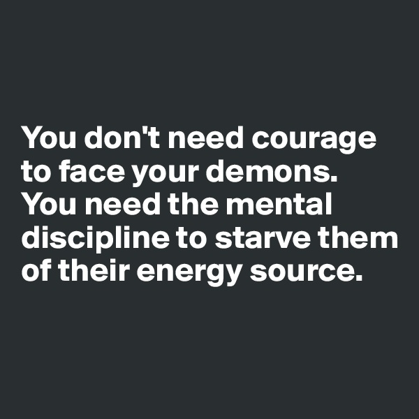 You don't need courage to face your demons. You need the mental discipline to starve them of their energy source.