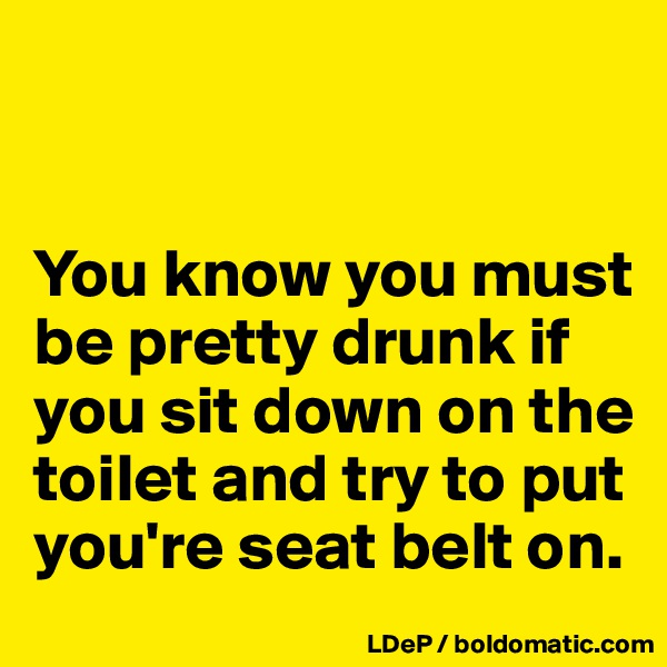 You know you must be pretty drunk if you sit down on the toilet and try to put you're seat belt on.