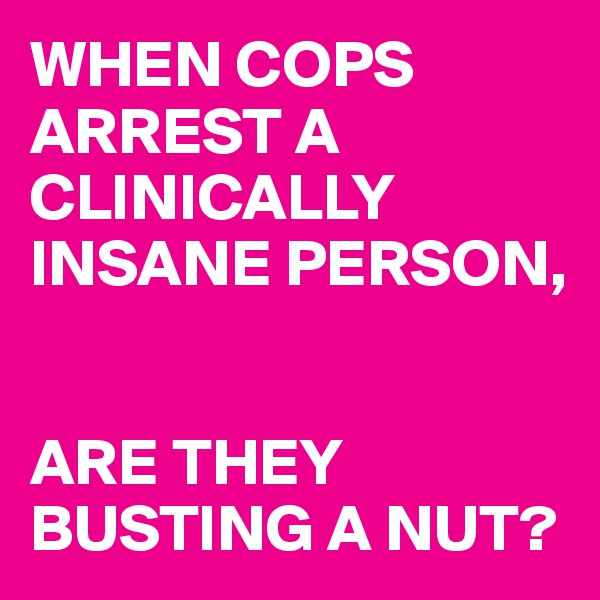 WHEN COPS ARREST A CLINICALLY INSANE PERSON,    ARE THEY BUSTING A NUT?