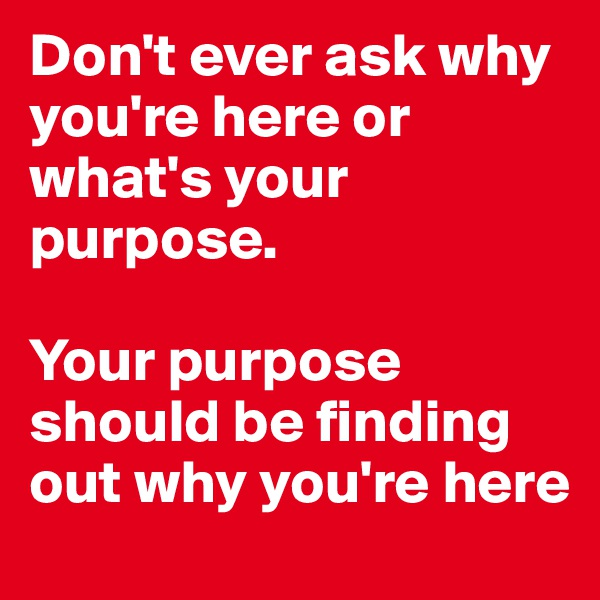 Don't ever ask why you're here or what's your purpose.  Your purpose should be finding out why you're here
