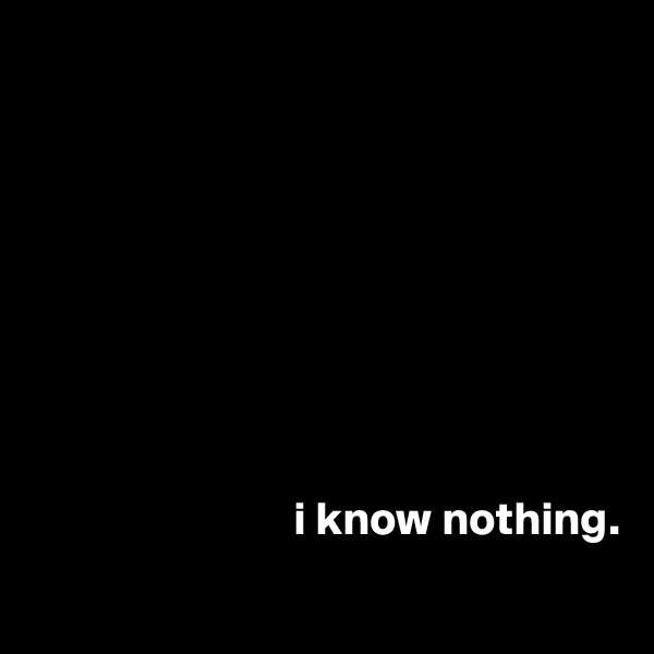 i know nothing.