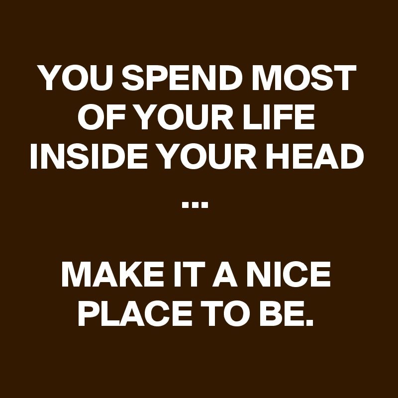 YOU SPEND MOST OF YOUR LIFE INSIDE YOUR HEAD ...  MAKE IT A NICE PLACE TO BE.