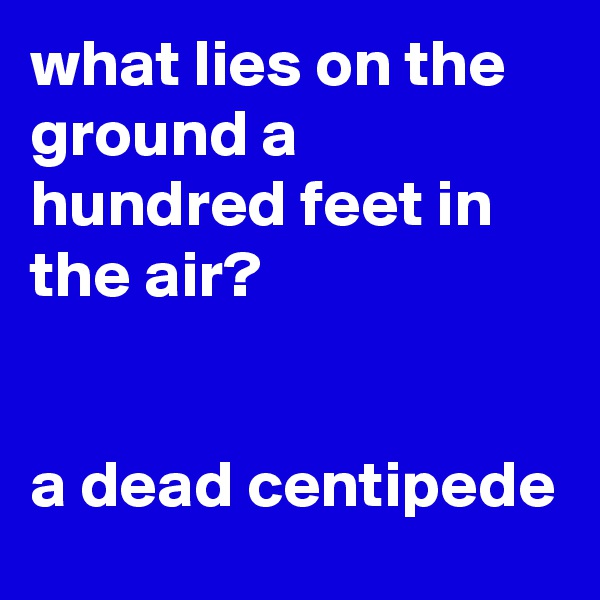 what lies on the ground a hundred feet in the air?   a dead centipede