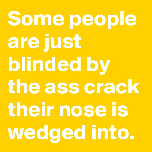 Some people are just blinded by the ass crack their nose is wedged into.