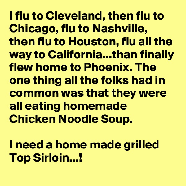 I flu to Cleveland, then flu to Chicago, flu to Nashville, then flu to Houston, flu all the way to California...than finally flew home to Phoenix. The one thing all the folks had in common was that they were all eating homemade Chicken Noodle Soup.  I need a home made grilled Top Sirloin...!