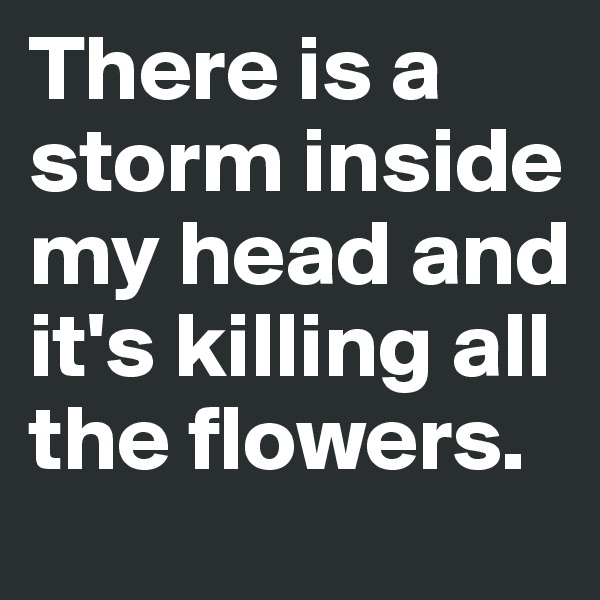 There is a storm inside  my head and it's killing all the flowers.