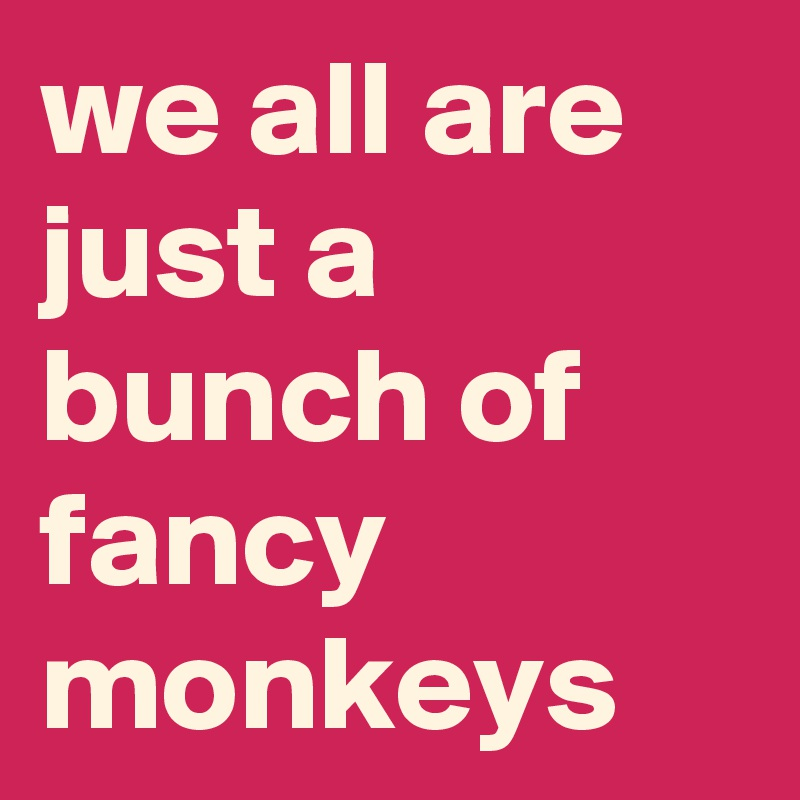 we all are just a bunch of fancy monkeys