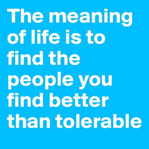 The meaning of life is to find the people you find better than tolerable