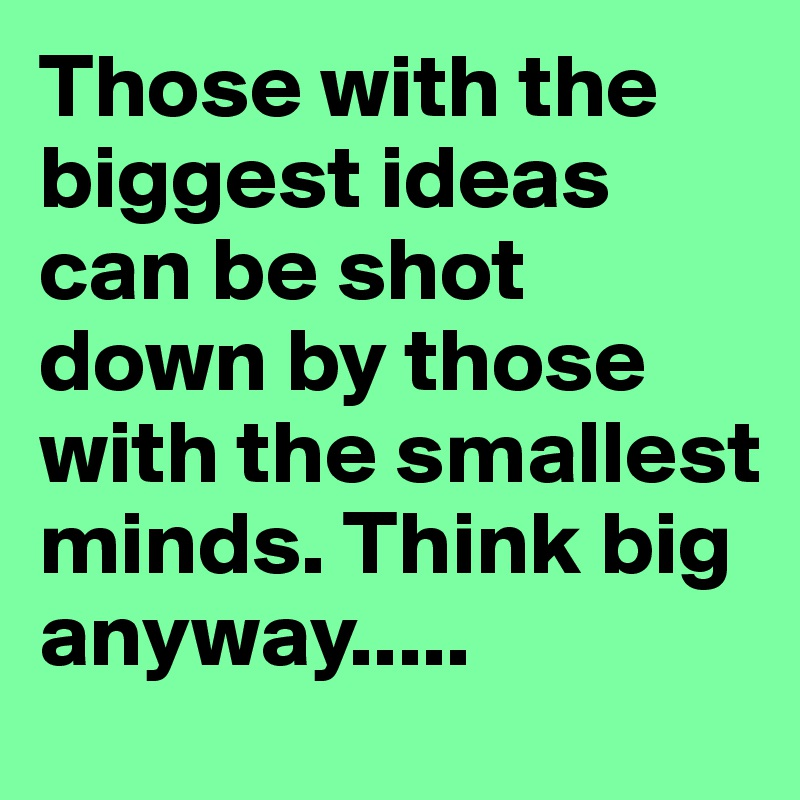 Those with the biggest ideas can be shot down by those with the smallest minds. Think big anyway.....