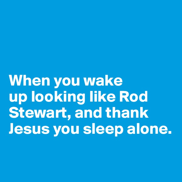 When you wake  up looking like Rod Stewart, and thank Jesus you sleep alone.