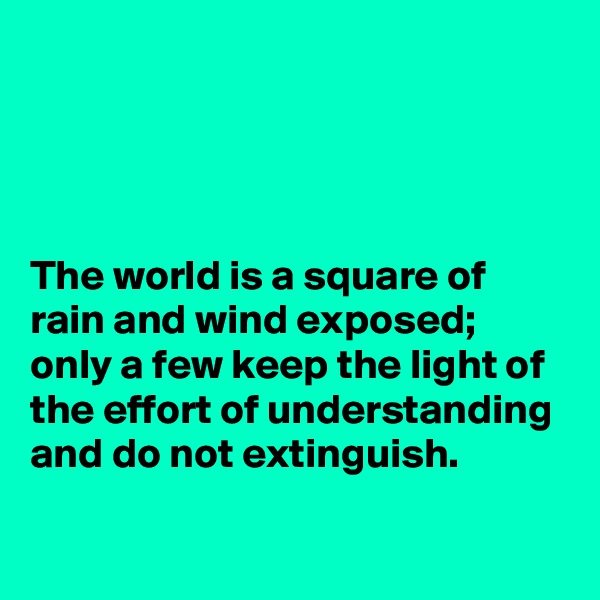 The world is a square of rain and wind exposed; only a few keep the light of the effort of understanding and do not extinguish.