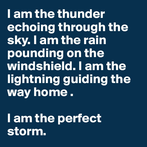 I am the thunder echoing through the sky. I am the rain pounding on the windshield. I am the lightning guiding the way home .   I am the perfect storm.