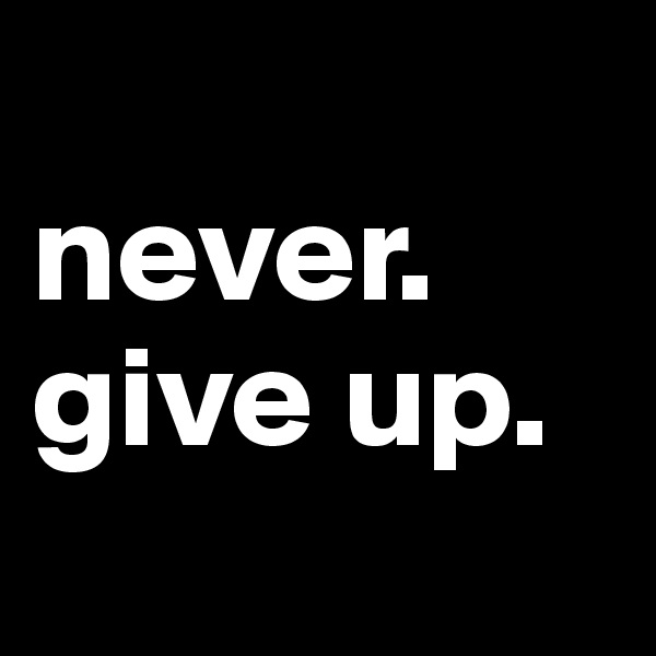 never. give up.