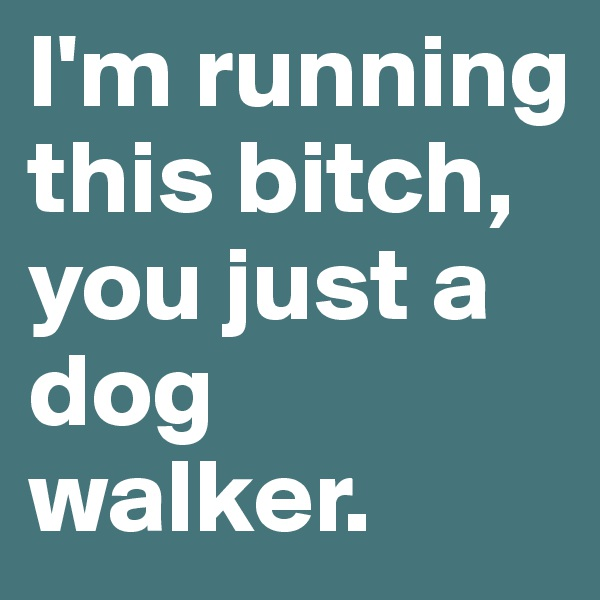 I'm running this bitch, you just a dog walker.