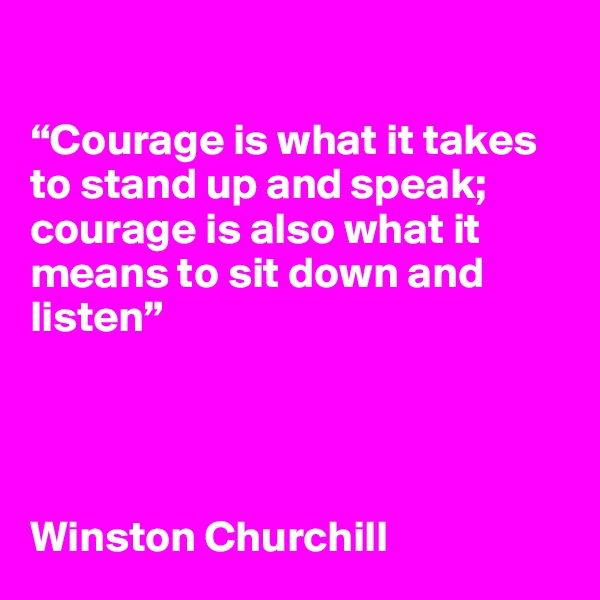 """Courage is what it takes to stand up and speak; courage is also what it means to sit down and listen""     Winston Churchill"