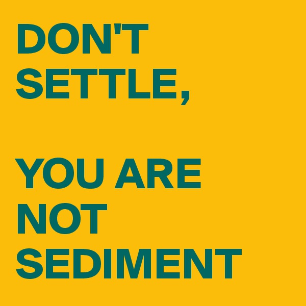 DON'T SETTLE,  YOU ARE NOT SEDIMENT