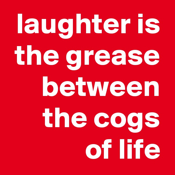 laughter is the grease between the cogs of life