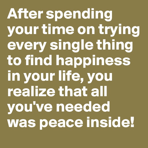 After spending your time on trying every single thing to find happiness in your life, you realize that all you've needed was peace inside!