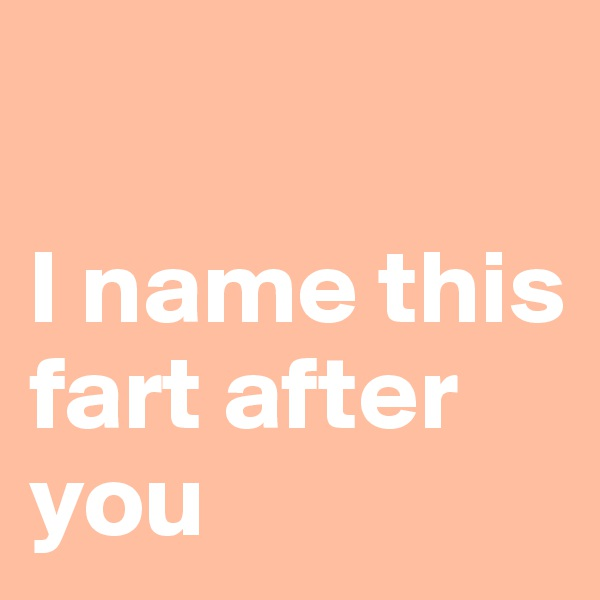 I name this fart after you