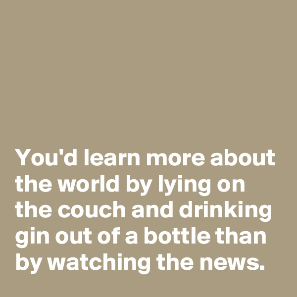 You'd learn more about the world by lying on the couch and drinking gin out of a bottle than by watching the news.