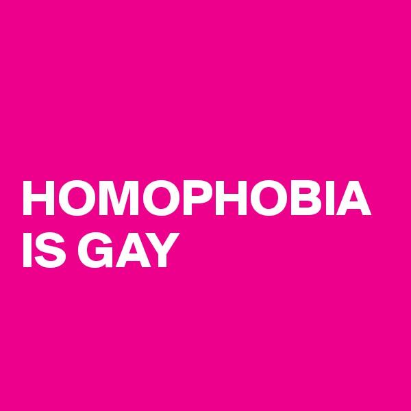 HOMOPHOBIA IS GAY
