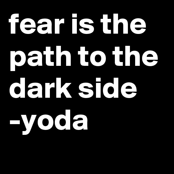 fear is the path to the dark side -yoda