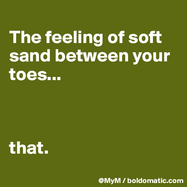 The feeling of soft sand between your toes...    that.
