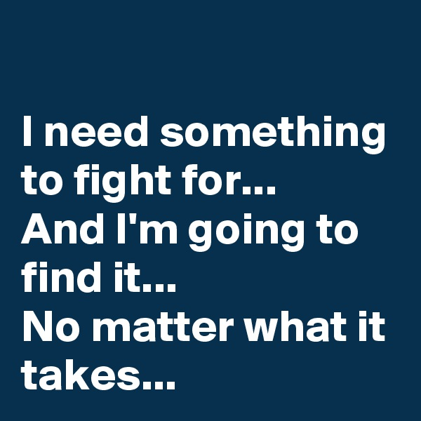 I need something to fight for... And I'm going to find it... No matter what it takes...