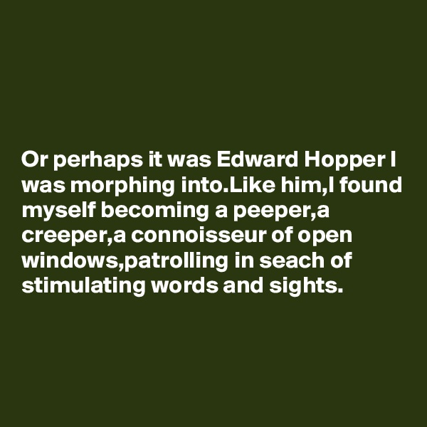 Or perhaps it was Edward Hopper I was morphing into.Like him,I found myself becoming a peeper,a creeper,a connoisseur of open windows,patrolling in seach of stimulating words and sights.