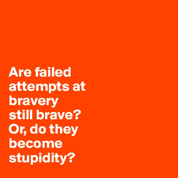 Are failed  attempts at  bravery still brave?  Or, do they  become  stupidity?