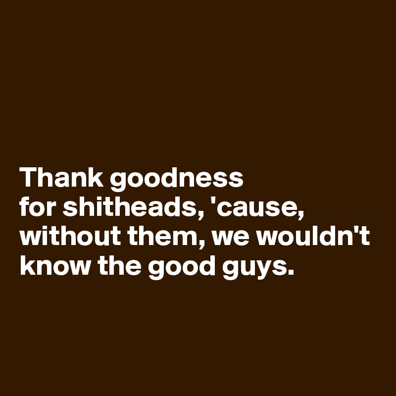 Thank goodness  for shitheads, 'cause, without them, we wouldn't know the good guys.
