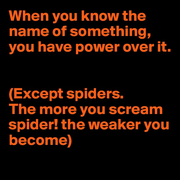 When you know the name of something,  you have power over it.   (Except spiders.  The more you scream spider! the weaker you become)