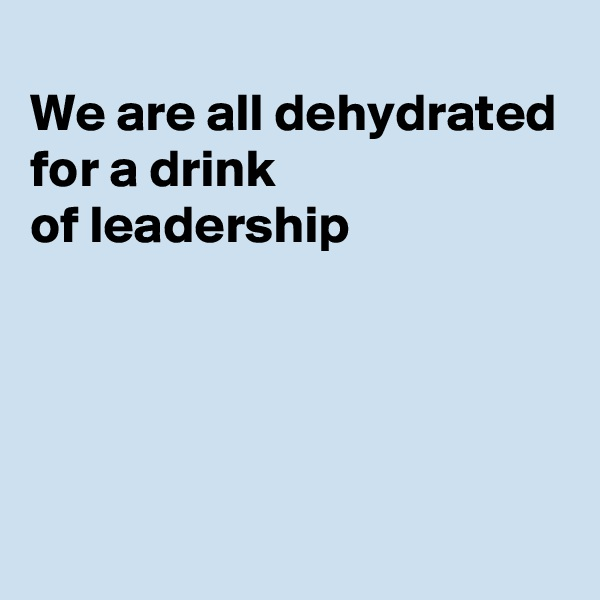 We are all dehydrated  for a drink of leadership