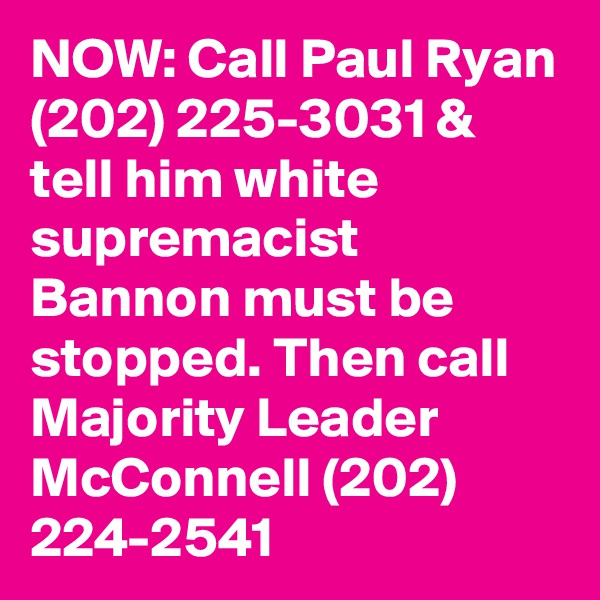 NOW: Call Paul Ryan (202) 225-3031 & tell him white supremacist Bannon must be stopped. Then call Majority Leader McConnell (202) 224-2541