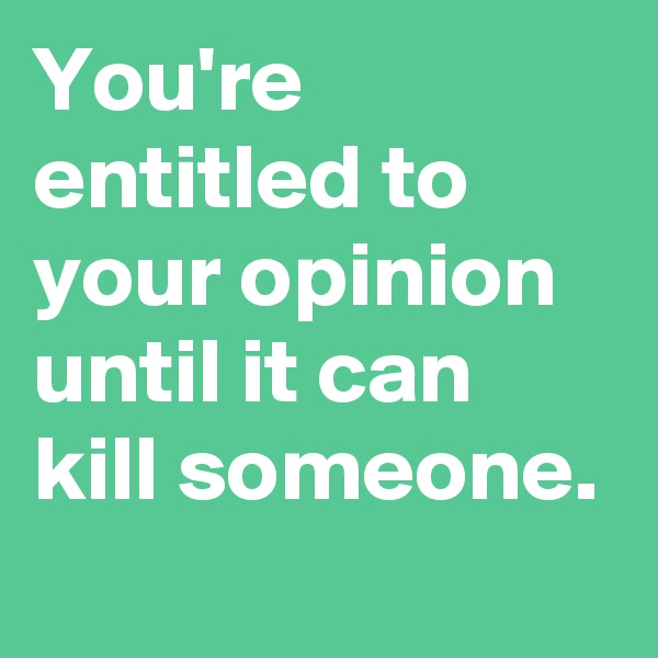 You're entitled to your opinion until it can kill someone.