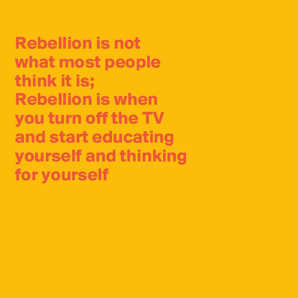 Rebellion is not what most people think it is; Rebellion is when you turn off the TV and start educating yourself and thinking for yourself