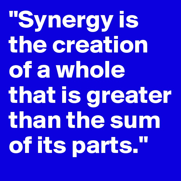 """""""Synergy is the creation of a whole that is greater than the sum of its parts."""""""