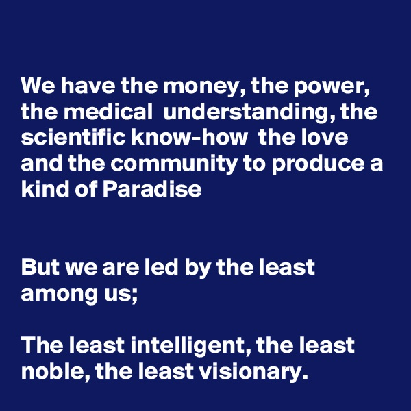 We have the money, the power, the medical  understanding, the scientific know-how  the love and the community to produce a kind of Paradise   But we are led by the least among us;  The least intelligent, the least noble, the least visionary.