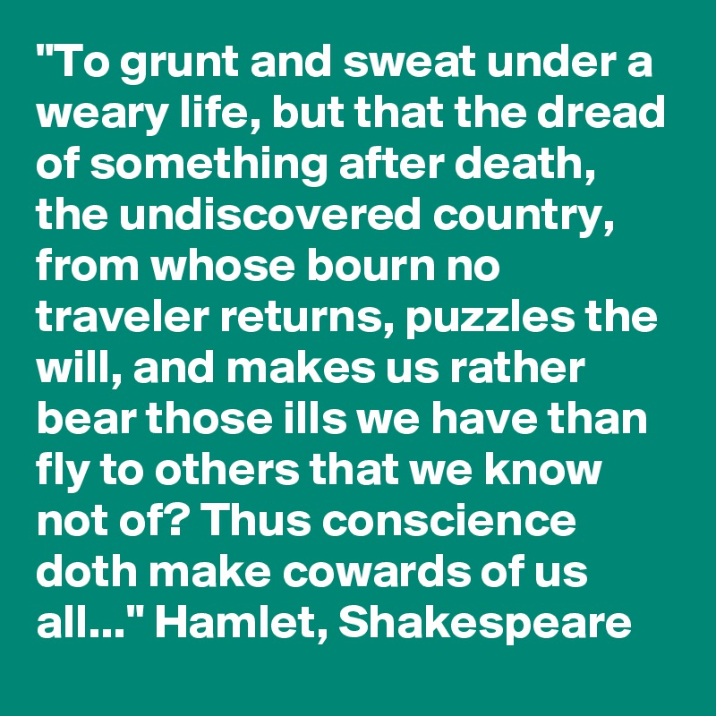 """To grunt and sweat under a weary life, but that the dread of something after death, the undiscovered country, from whose bourn no traveler returns, puzzles the will, and makes us rather bear those ills we have than fly to others that we know not of? Thus conscience doth make cowards of us all..."" Hamlet, Shakespeare"