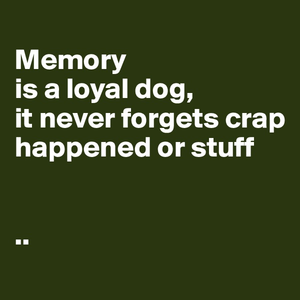 Memory  is a loyal dog,  it never forgets crap happened or stuff   ..