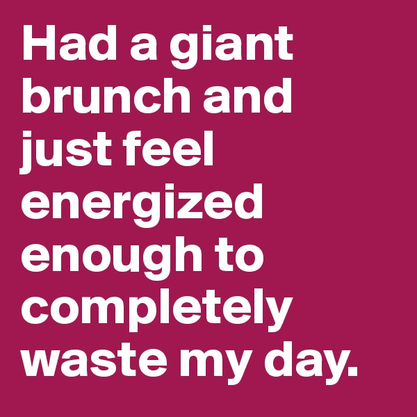 Had a giant brunch and just feel energized enough to completely waste my day.