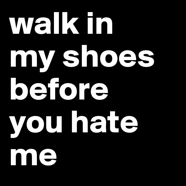 walk in  my shoes before  you hate me